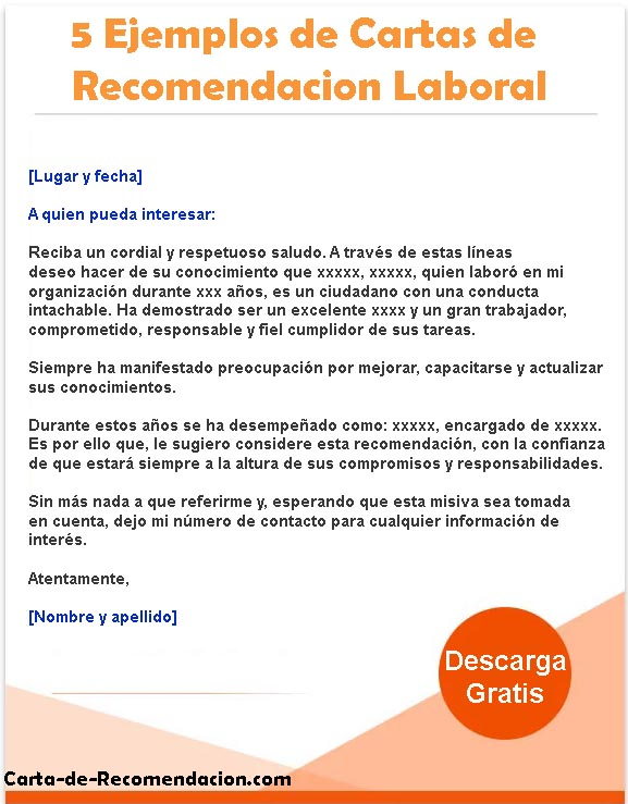 ≫ Carta de recomendación 🤩 Laboral | Familiar | Académica